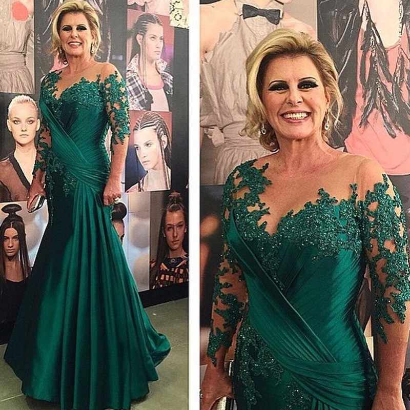 Long Sleeve Green Beaded Lace Mother of Bride Evening Dresses For Wedding 2019 Satin Ruched Mermaid Groom Godmother Dresses