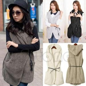 Image 2 - Women Hoodie Long Vest Sleeveless Jacket Faux Lamb Fur Coat Waistcoat Outerwear