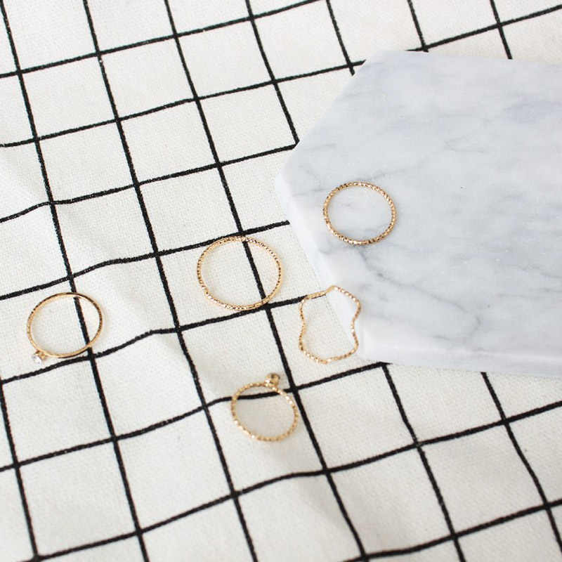 5pcs/set Simple jewelery ring set romantic rings for women bagues pour femme  Gold color Wave ring