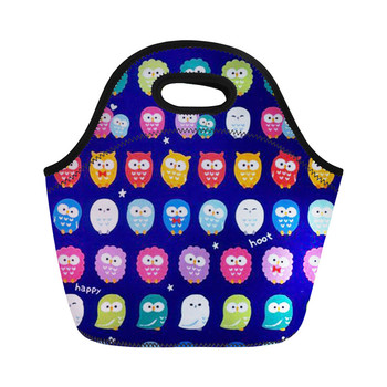 THIKIN Animal Print Neoprene Owl Lunch Bags Cartoon Cooler Women Handbag Kid Student Insulation Package Portable Food