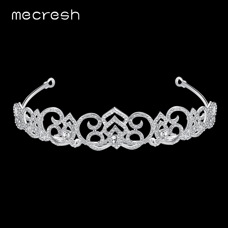 Mecresh Newest Flower shape Crystal Bridal Tiara Crown Gorgeous Silver Color Wedding Hair Accessories Christmas Gift MHG089|crystal bridal tiara|bridal tiara crownbridal tiara - AliExpress