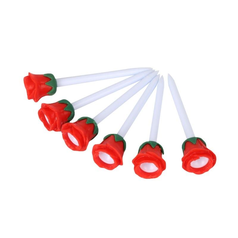 6pcs Golf Tees Rose Flower Design Lovely Cushion Top Portable Lightweight Long Plasitc Golf Tees Golf Accessories Tools