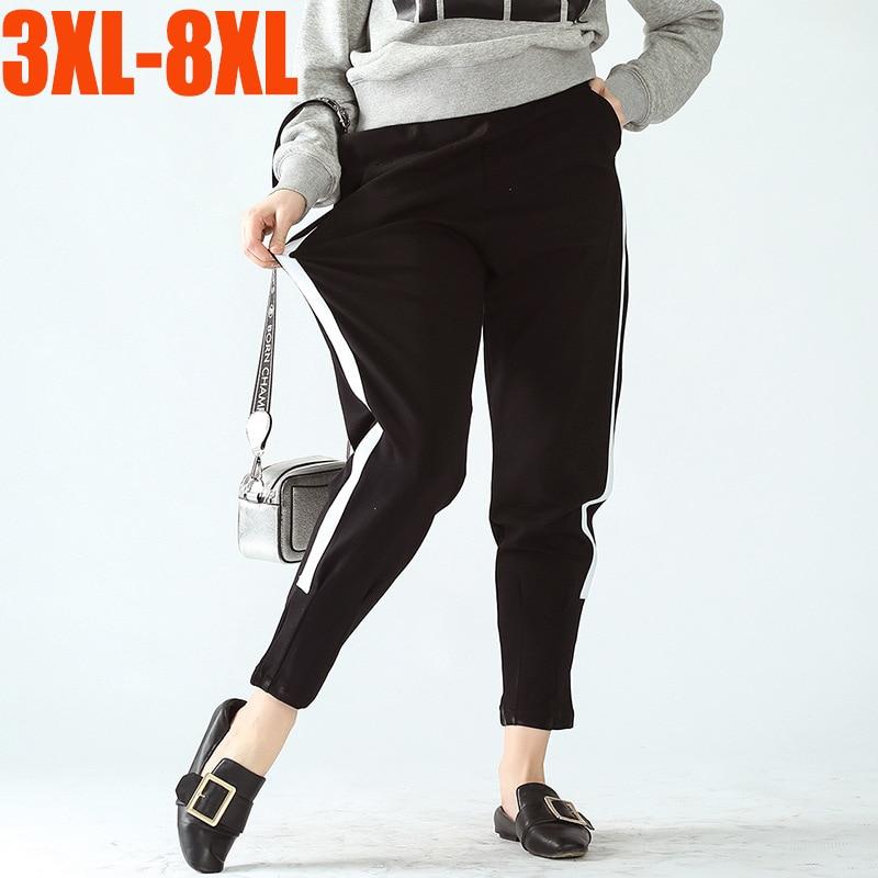 Plus Size 3xl-8xl High Waist Harem Pants Women Spring Side Stripe Casual Loose Nine Cotton Pants Capri Jogger Trousers Bottoms