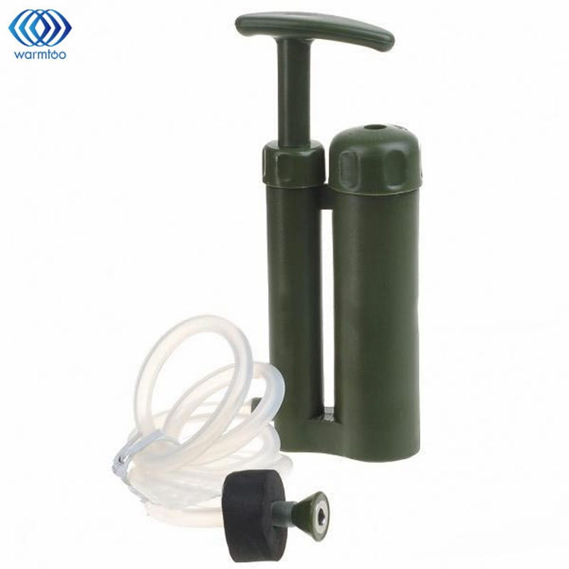 Camping Mini Portable Water Purifier Outdoor Survival Hiking Soldier Military Water Filter Military Water Filters Survival Kits outdoor camping hiking survival water filtration purifier drinking pip straw army green
