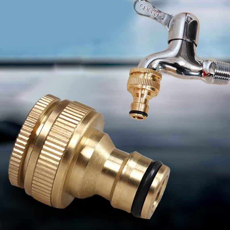 2018 Durable 34 to 12  Inch Brass Garden Faucet Water Hose Tap Connector Fitting Gold Color