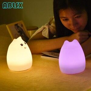Image 3 - Luz Nocturna Led de dibujos animados con diseño de gato, luminaria de animales en 3D, luz nocturna para niños junto a la lámpara, Navidad, 7 colores cambiados, luces nocturnas