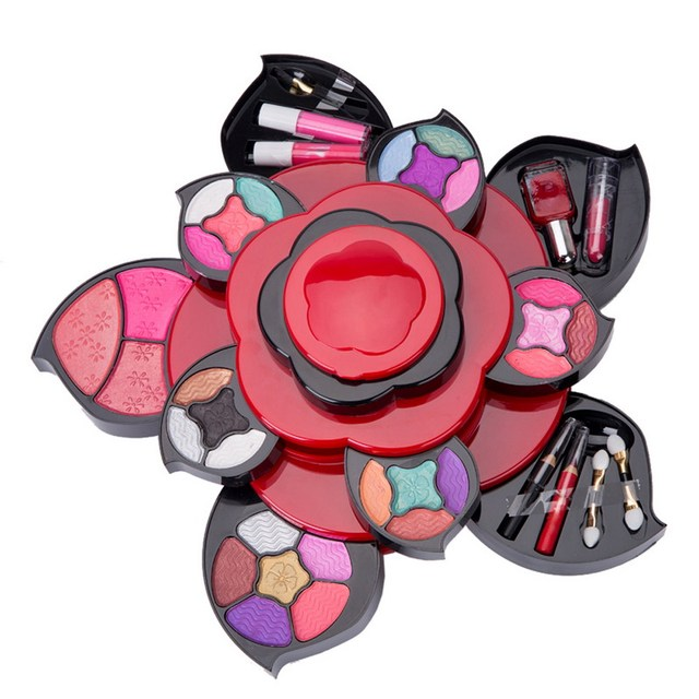 Fashion Flower Style Makeup Kits Gift Set Eyeshadow Foundation Blusher Powder Lip Gloss Kit