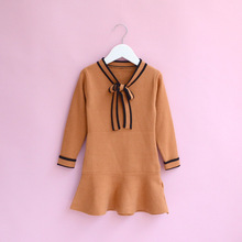 Everweekend Girls Bow Striped Ruffles Sweater Dress Lovely Kids Candy Color Clothes Princess Western Fashion Autumn Party Dress