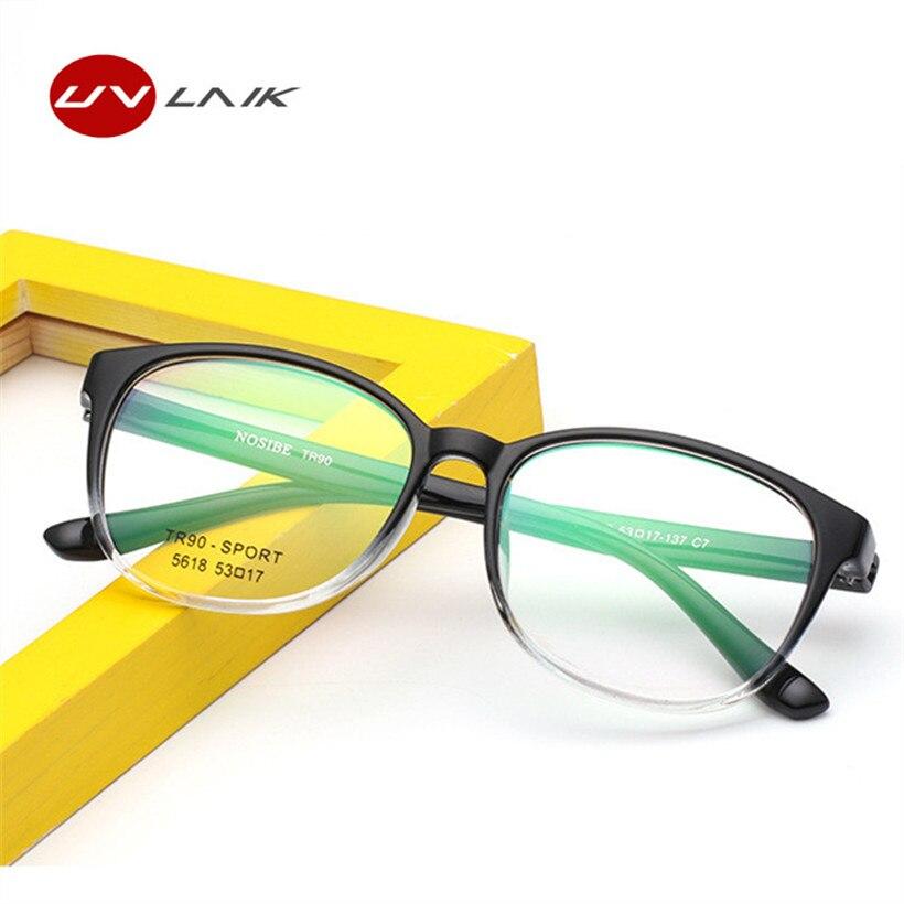 UVLAIK Trendy TR90 Glasses Frame Anti-Radiation Computer Eyeglasses Transparent Lens Fashion Gradient Retro Large Eyeglass Frame