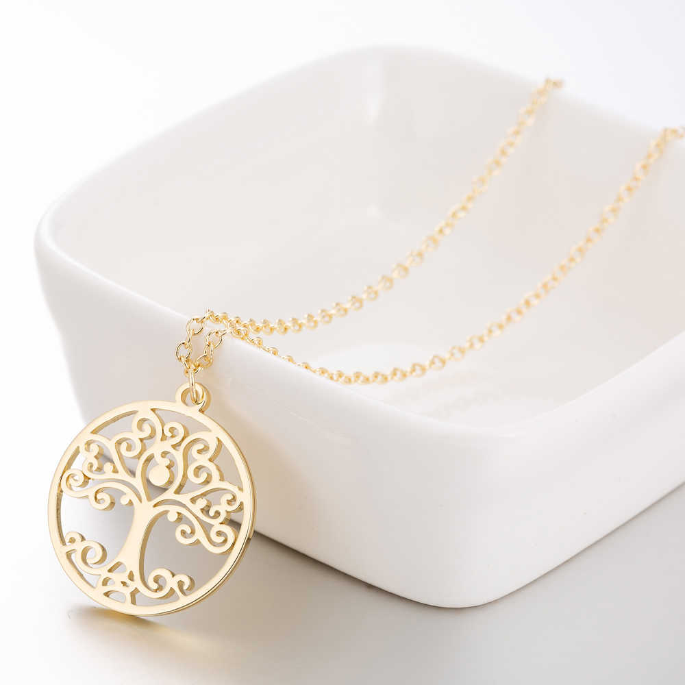 SMJEL 2018 Silver Color Stainless Steel Tree of Life Necklaces Women Circle Tree Necklace Collares Gift Jewelry boucle d'oreille