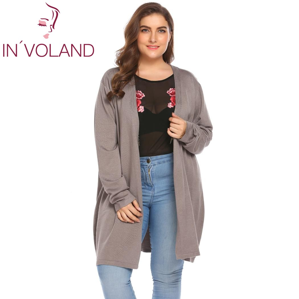 IN'VOLAND Big Size 5XL Women's Cardigan Jacket Autumn Open Front Solid Thin Knit Large Long Sweater Outwear Coat Tops Plus Size plus size pockets chunky knit long ope front slit cardigan