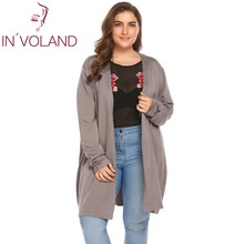 IN'VOLAND Big Size 5XL Women's Cardigan Jacket Autumn Open Front Solid Thin Knit Large Long Sweater Outwear Coat Tops Plus Size
