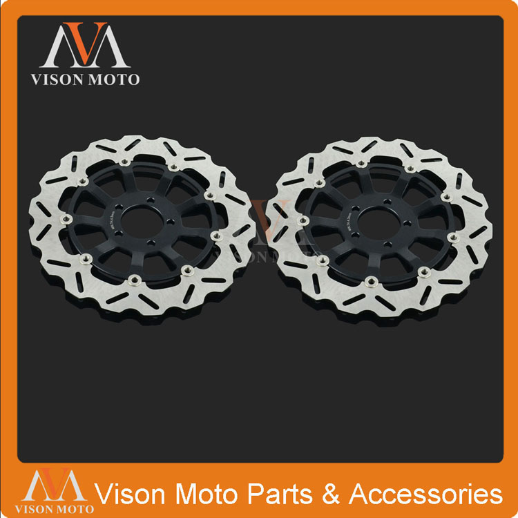 2PCS Front Floating Brake Disc Rotor For Kawasaki ZX7R ZX7RR NINJA 750 96-03 ZXR750 93-95 ZX9R NINJA 900 94-97 02-03 keoghs motorcycle brake disc brake rotor floating 260mm 82mm diameter cnc for yamaha scooter bws cygnus front disc replace
