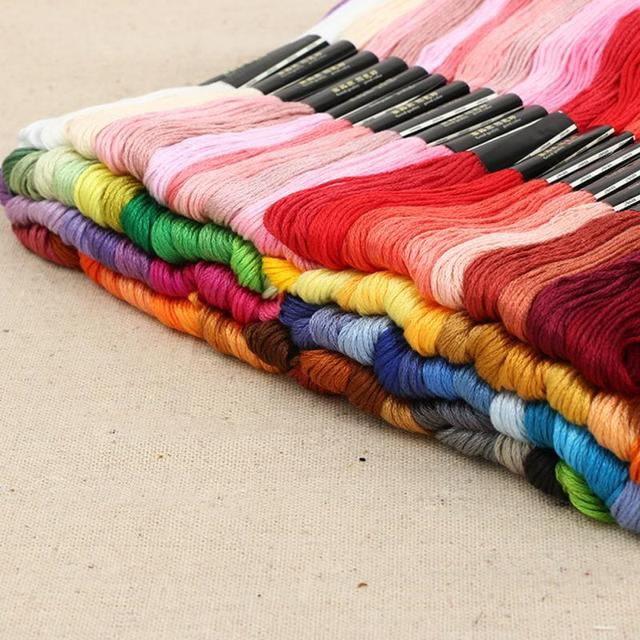 Hot selling 50Pcs/Set 8M Anchor Cross Stitch Cotton Embroidery Thread Floss Sewing Skeins Craft Dofferent Colors