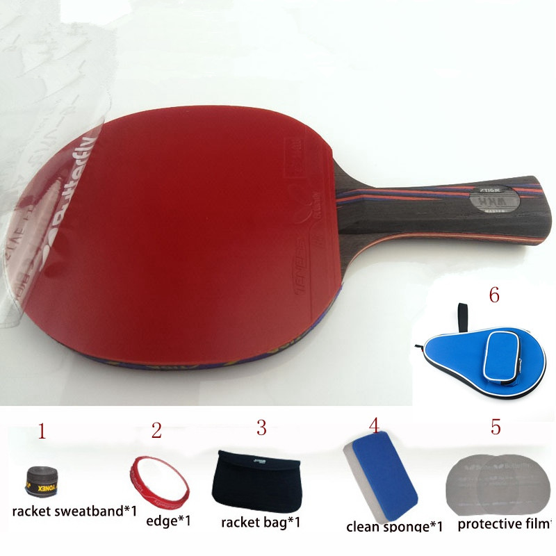 table tennis racket WRB 7.6 pat set 6 free gifts long handle short handle professional carbon fiber table tennis racket