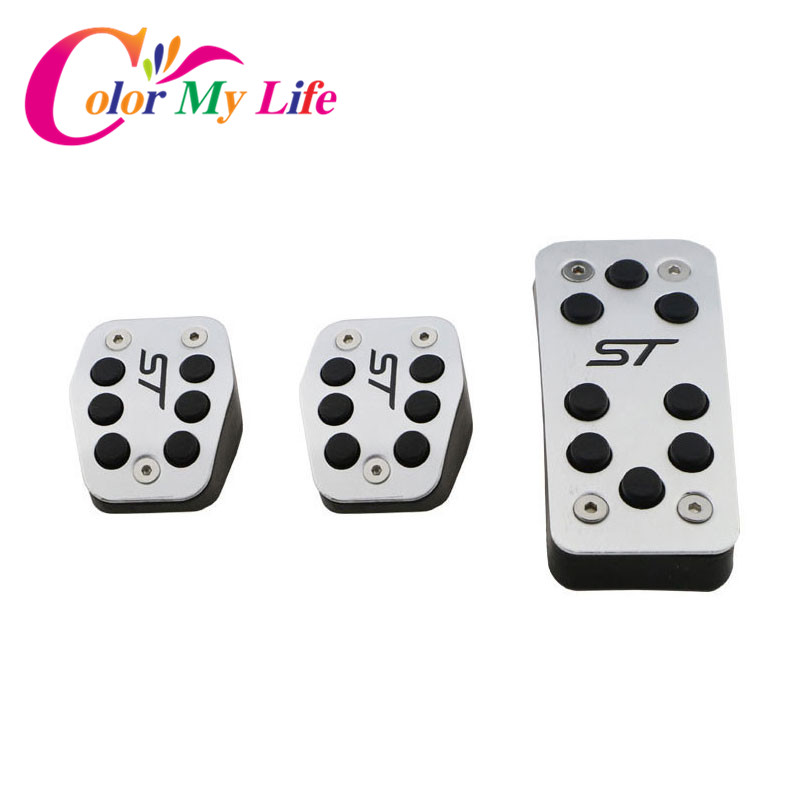 Color My Life Car Celerator Pedal Brake Pedal Clutch Pedals Cover For Ford Focus 2 MK2 3 4 MK3 MK4 Kuga Escape ST 2005-2017