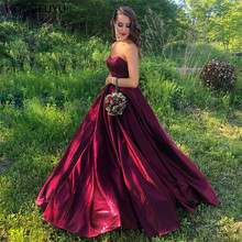 HONGFUYU Sweetheart Prom Dresses Long Ball Gown Lace Up Corset Back Satin Sleeveless Party Formal Gowns Evening Dress Pageant women dress long party ball prom gown sleeveless formal bridesmaid lace dresses