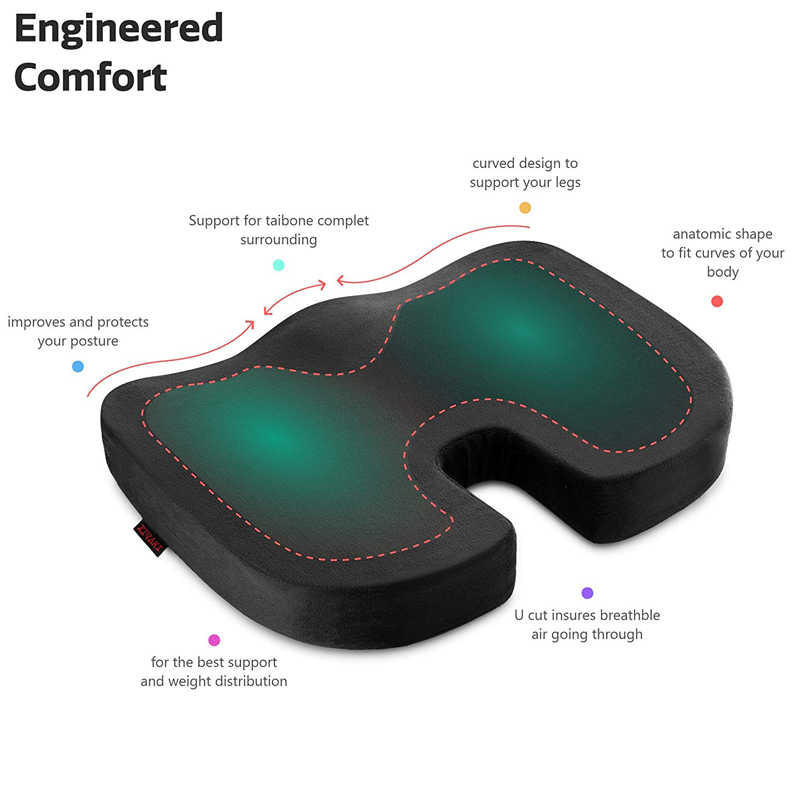 Car Seat Cushion Orthopedic Luxury Chair Pillow Comfort Memory Foam For Home Office Chair Car Truck Driver