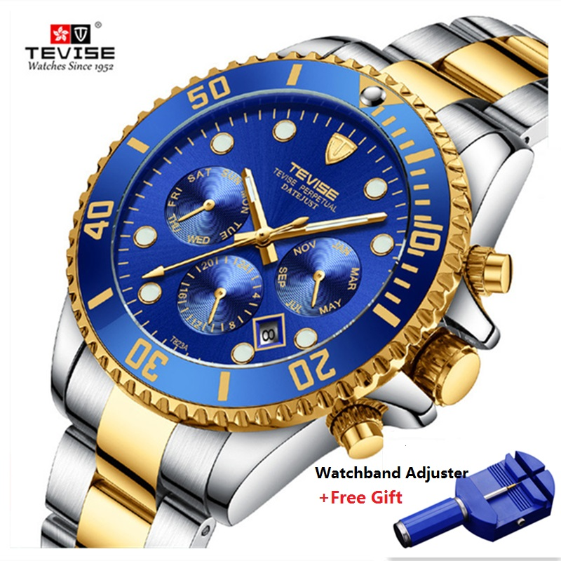 Hot TEVISE Watch Men Luxury Automatic Mechanical Mens Wristwatch Stainless Steel Waterproof Military Watch relogio masculino