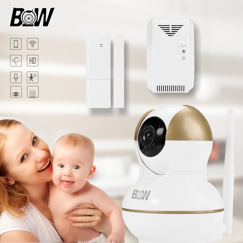 BW Smart Surveillance Camera WiFi Security System +Door Sensor/Gas Detector Home Alarm System Camera Wireless Camera BW12G bw wireless wifi door