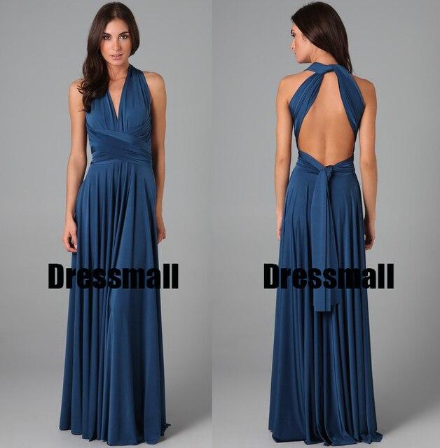 56841b9b6c9dc9 2015 Navy Blue Infinity wrap styles vestidos de festa vestido longo long  convertible custom made party bridesmaid dresses