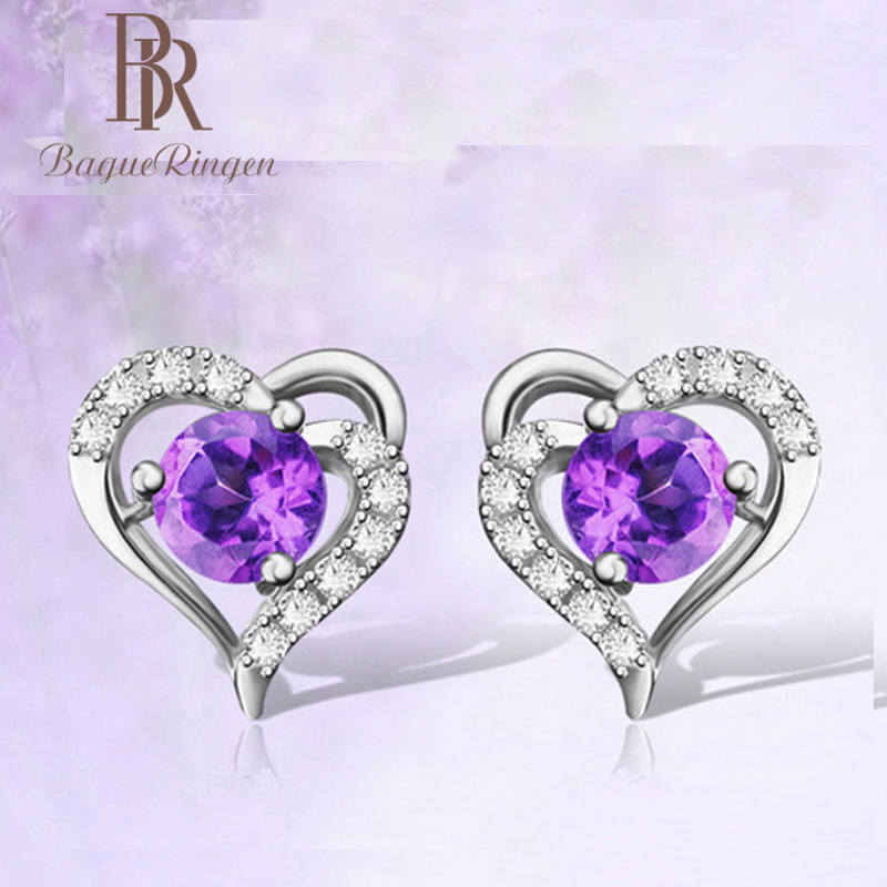 Begua Ringen Fashion Design 925 Sterling Silver Restoring  Blue Amethyst Heart-shaped Earring Fine Jewelry Wedding Gift