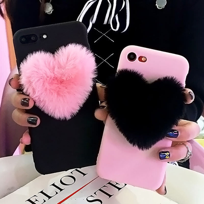 3D Furry Love Hearts Cute Hair Phone Case For Xiaomi Mi 6 5 5S A1 5X Max 2 For Redmi 5 Plus Note 5A 4X 4 4A Cases Note 5 Pro 3S