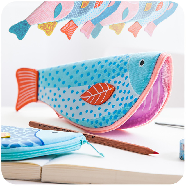 Creative happy fish pencil case pen bag large canvas bags for Fish pencil case