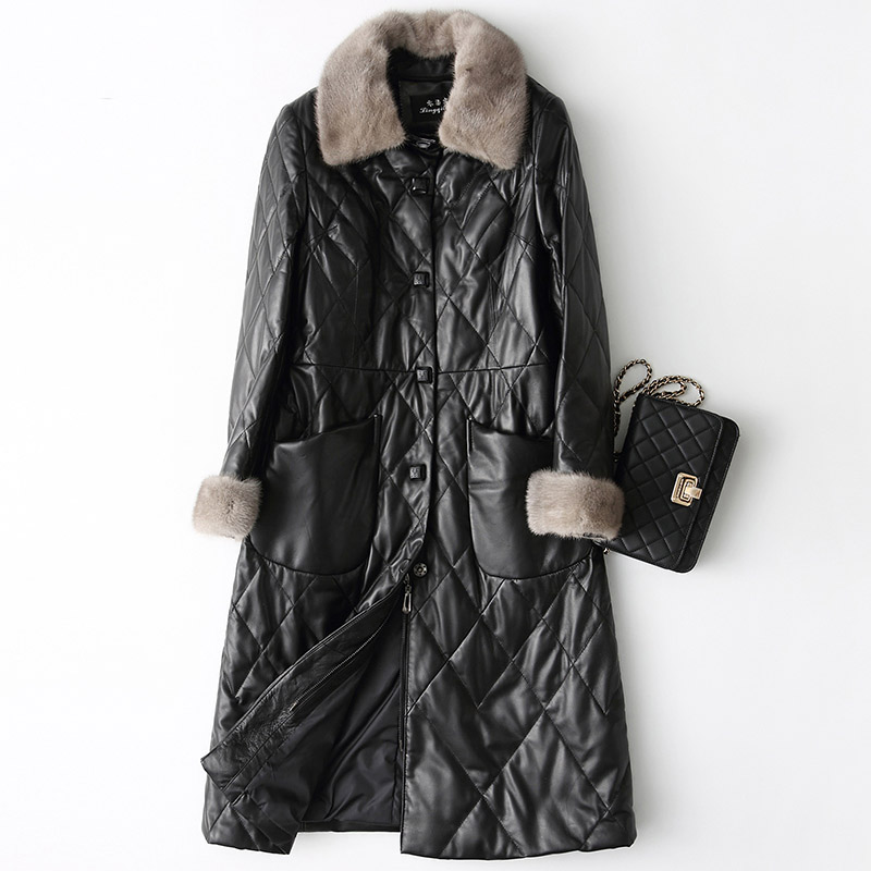 Natural sheepskin leather jacket women   down     coat   woman real leather outerwear with genuine mink fur collar and cuff