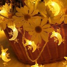 10M 100LEDS EU Plug LED Star Moon String Fairy Lights Christmas Garland 3M/5M Battery Operate Wedding decoration Lamp free shipping led little star string lights battery operated 4m 80leds 10m 100leds 220v christmas wedding decoration fairy light