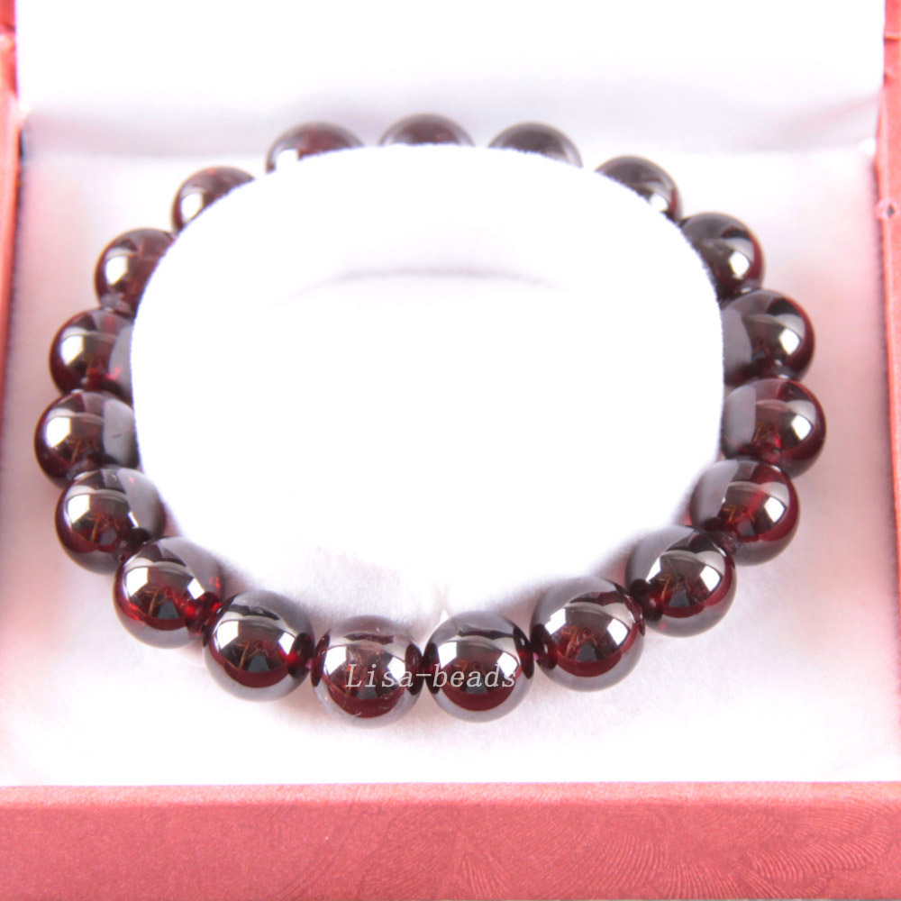 Free Shipping Free Shipping Fine Jewelry 9MM AA 100% Natural Red Garnet Stretch Bracelet 7 with Gift Box RJ033 цена
