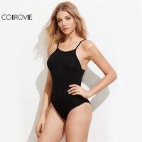 COLROVIE Caged Back Sexy Cami Bodysuit Black Sleeveless Summer Women Strappy Bodysuits 2017 Fashion Solid Basic
