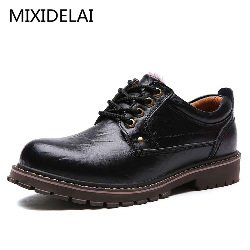 Autumn Winter Warm Fur Male Genuine Leather Casual Shoes For Men Adult 2017 Brand Work High Quality Walking Footwear Man 2016 new autumn winter man casual shoes sport male leisure chaussure laced up basket shoes for adults black