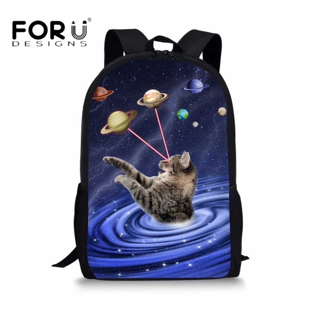 FORUDESIGNS Universe Galaxy Cat Printing School Bags for Children Girls Big Laptop Teens Student Bookbag Casual Animal Bagpacks