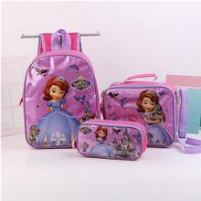 Sofia Princess Girls Backpack School Bag With Lunch and Pencil Case Set 3 for Kids Kindergarten Preschool School Toddler Bags