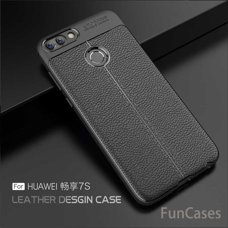 Para Huawei P Smart Case 5,65 pulgadas lujosas fundas de cuero TPU suaves ultrafinas para Huawei Enjoy 7 S PSmart Coque Fundas Huaweii