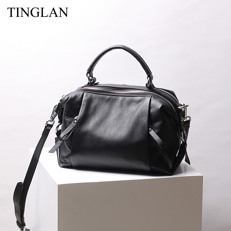 TINGLAN Luxury Women Handbags Genuine Leather Shoulder Crossbody Bags for Women Famous Designer Real Cow Leather Handbags Black