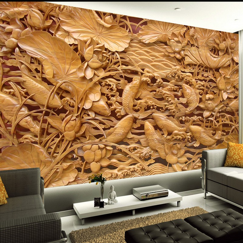 Beibehang Papel De Parede Custom Wallpaper Wall Stickers Large Fresco Wood Carvings Chinese Classical Hetang Wall Paintings Wall