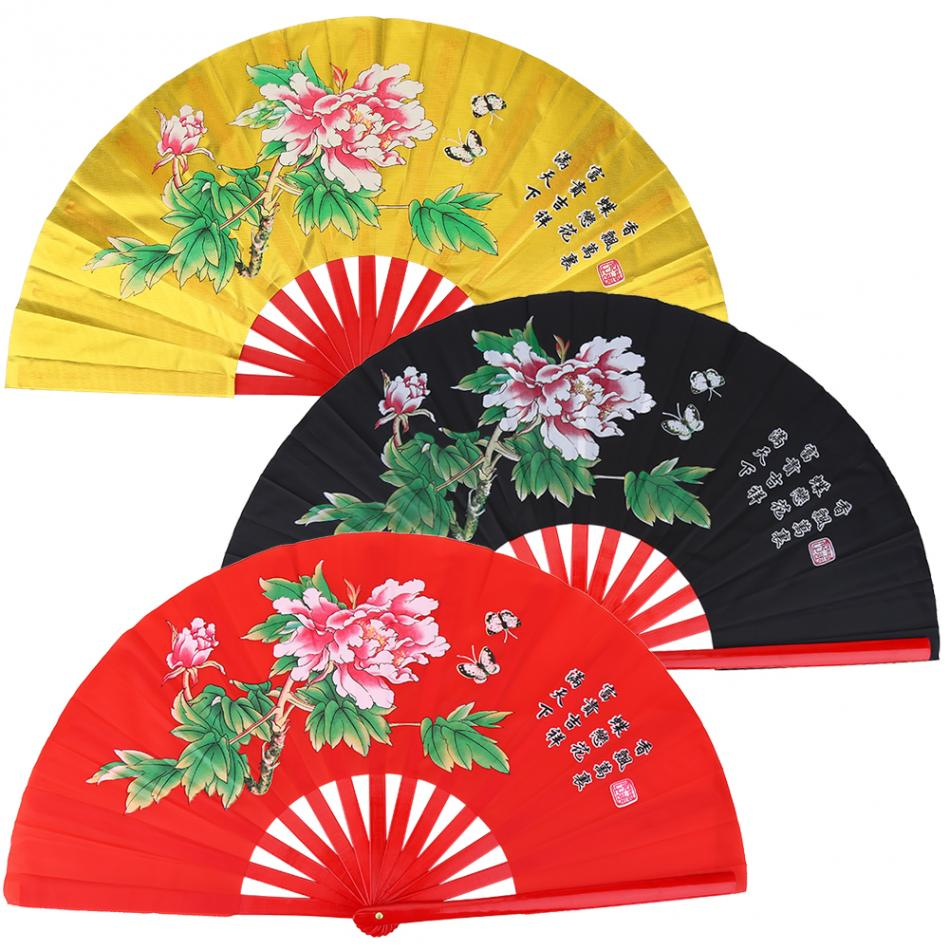 33CM Bamboo Tai Martial Arts Fan nese Kung Fu Dance Performance Pratice Training Fan Morning Exercise Tai Fan with bag
