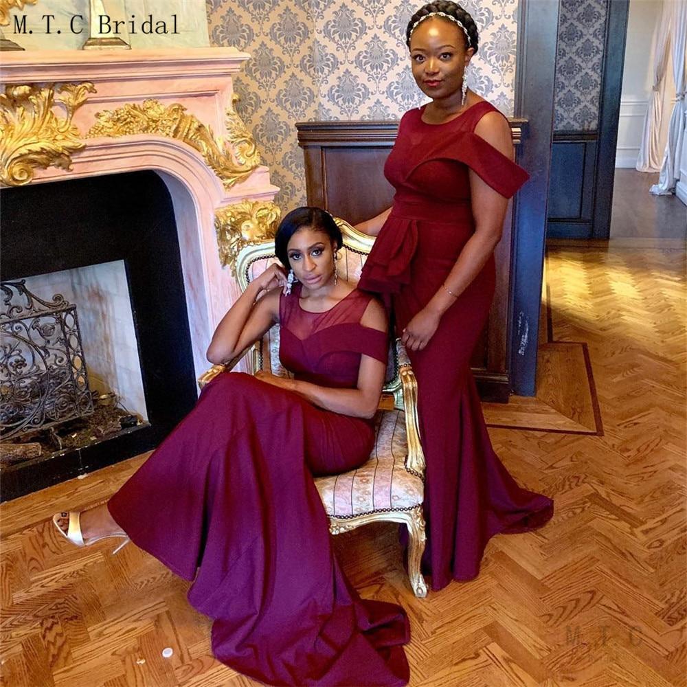 New 2019 Burgundy   Bridesmaid     Dresses   Mermaid Floor Length Sleeveless African Women Wedding Party   Dress   Cheap Robe De Soiree