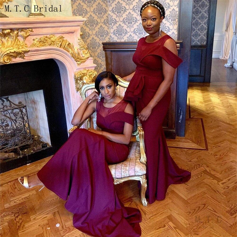 Nouveau 2019 bourgogne robes De demoiselle d'honneur sirène étage longueur sans manches femmes africaines Robe De mariée Robe De soirée pas cher