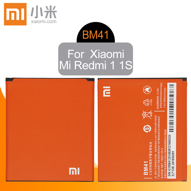 Xiao Mi <font><b>Original</b></font> BM41 Replacement Phone <font><b>Battery</b></font> High Capacity 2000mAh For <font><b>Xiaomi</b></font> <font><b>Xiaomi</b></font> 2A Mi2A <font><b>Redmi</b></font> <font><b>1S</b></font> <font><b>Redmi</b></font> 2 Genuine Li-ion image