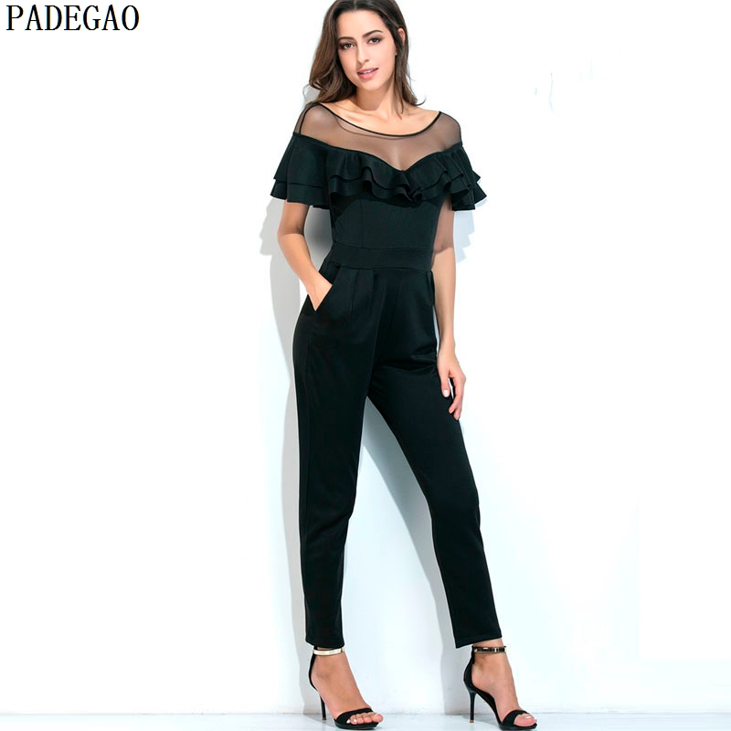 9fa3b7de74 PADEGAO 2017 black jumpsuit summer autumn ankle length pants overalls  rompers women clothing casual party bodysuit playsuits-in Jumpsuits from  Women s ...