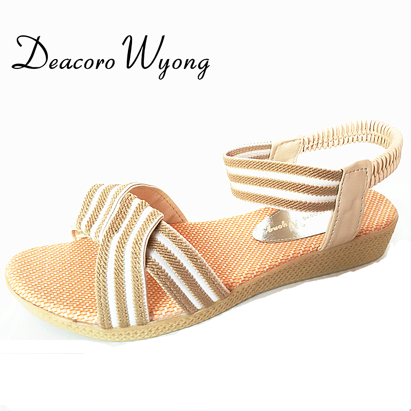 2017 spring and summer BIG SIZE new sandals female simple flat bottom fish mouth sandals solid color elastic band Rome sandals