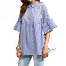 2017 Women Casual Loose Blouses Shirt Peter Pan Collar Stripe Shirt Frill Cuff Female Summer Flare Sleeve Tops Blousa AQ824321