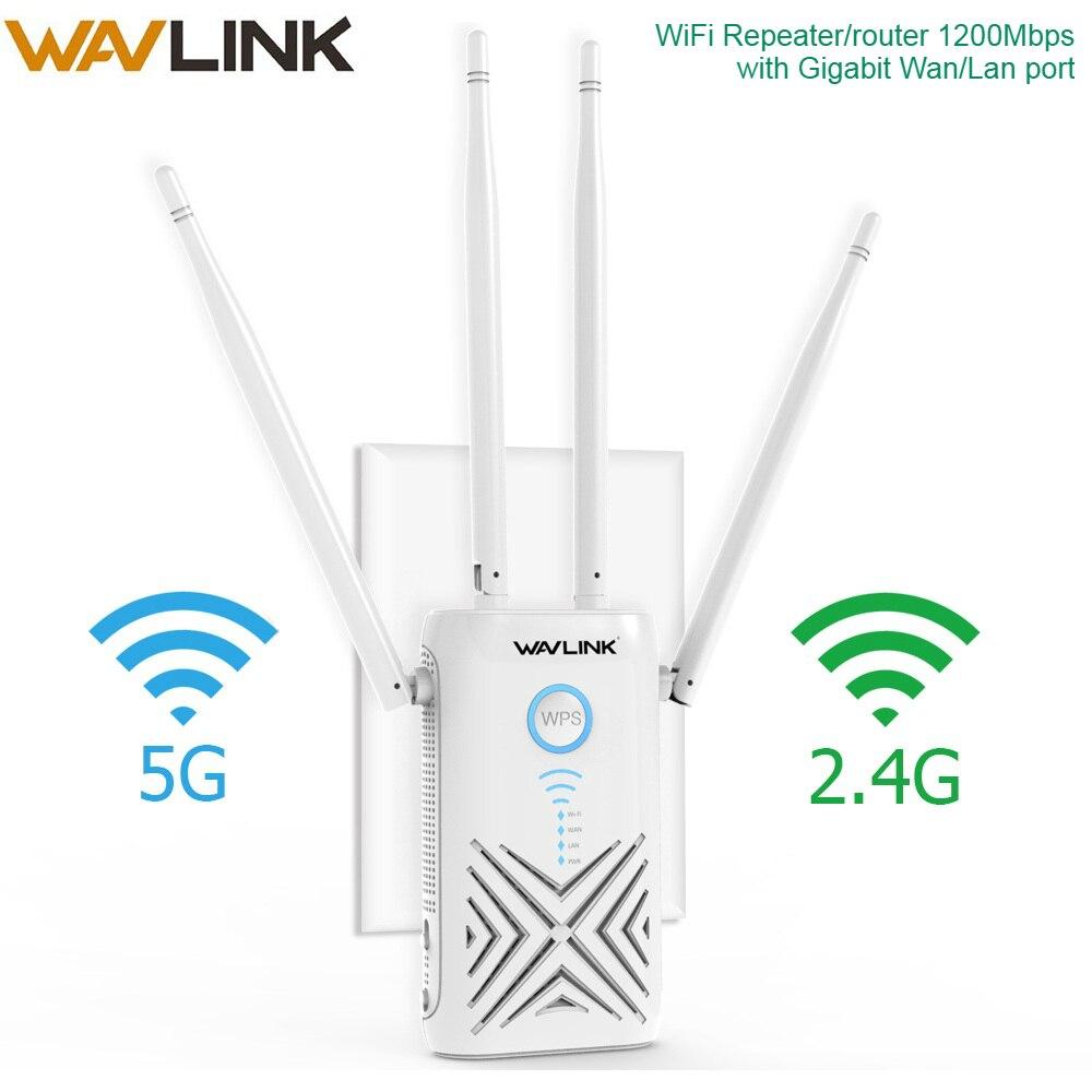 Wavlink 1200 Mbps wifi répéteur Extender/amplificateur/routeur/Point d'accès Gigabit sans fil double bande 2.4G/5G externe 5dBi antennes