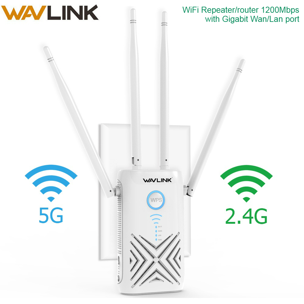 Wavlink 1200Mbps Wifi Repeater Extender/Amplifier/Router/Access Point Gigabit Wireless Dual Band 2.4G/5G External 5dBi Antennas