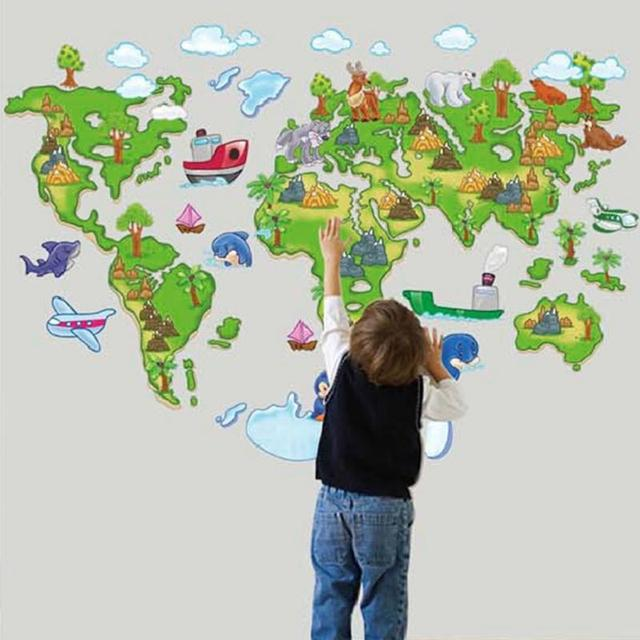 Green World Map Cartoon Animals Wall Stickers Kid S Room Decorations