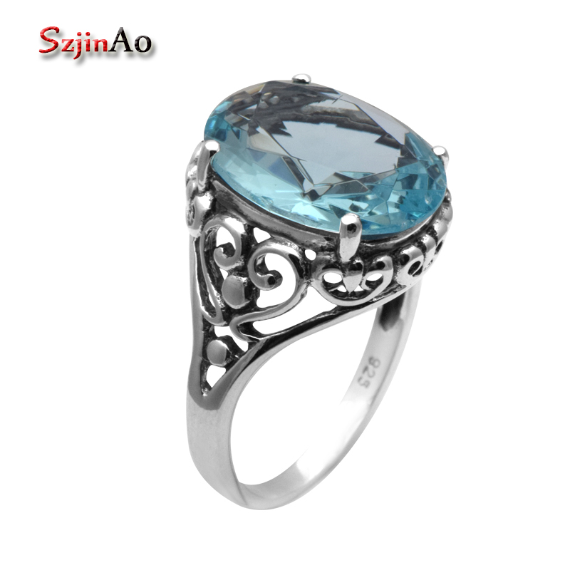 Szjinao Factory Processing and Wholesale 925 Sterling Silver Jewelry Antique Oval 6ct Blue Aquamarine Rings for Women
