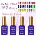 4 unids/lote Juegos de Manicura Kit de Gel esmalte de Uñas 4 Colores Opcionales el Conjunto de Lámpara UV Gel Manicura Barniz 15 ml Conjuntos de Gel barniz